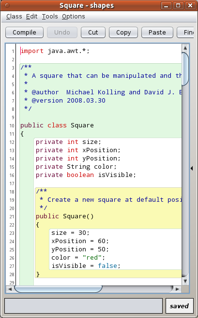 Screenshot of BlueJ on